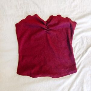 Urban Outfitters Ribbed + Ruffled Tube Top